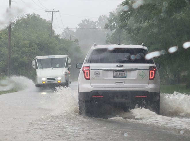Heavy rains struck central Ohio last month, including in Jefferson Township in this file photo. Rain has returned now that the remnants of Hurricane Ida are passing through the area.