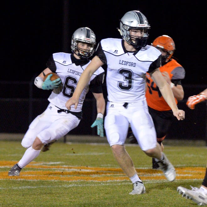 Quarterback Nate Carr (3) and receiver/defensive back Owen Finley (6) are two key players for Ledford. [Mike Duprez/The Dispatch]