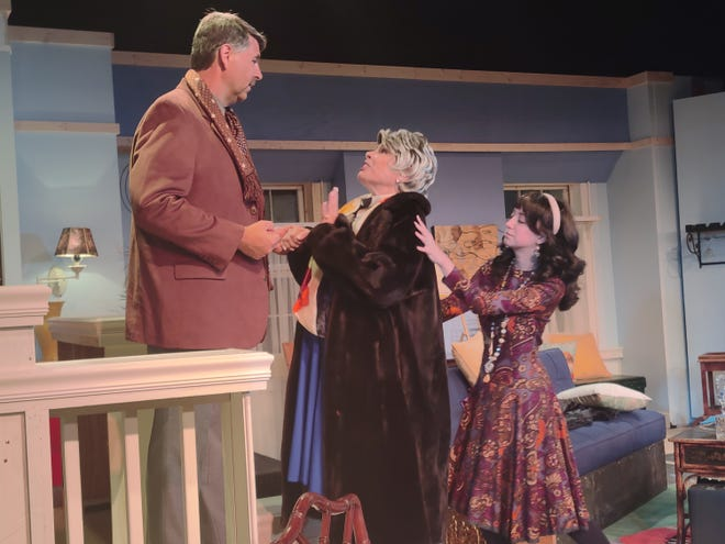 """From right, Jessica Guiffre as Corie Bratter, Laney Lavine Clark as the mother and David Guggenbuehl as Victor Velasco, the eccentric neighbor, in """"Barefoot in the Park""""."""