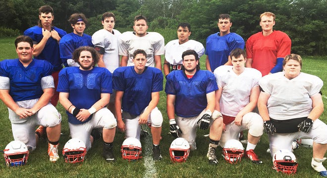 These 13 hard-working student/athletes all saw significant varsity action the back in 2019, the last time Carbondale Area fielded a varsity football team in the LFC. Pictured are (kneeling, from left): Luke Kovaleski, Josh Tierney, Chase Arthur, Liam Misko, James Iwanowski, Paul Salvatore. Standing are: Chaz Kovaleski, Quintin Naro, Gavin Connor, Noah Kilmer, Carlos Orta, Vincent DePalma, Guy, Mushow.