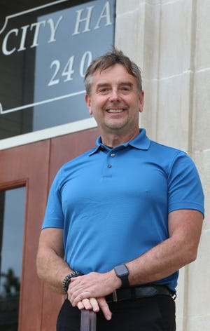 New Gastonia Police Department spokesman and public information specialist for the city of Gastonia Rick Goodale poses outside City Hall on South Street Tuesday afternoon, Aug. 17, 2021.