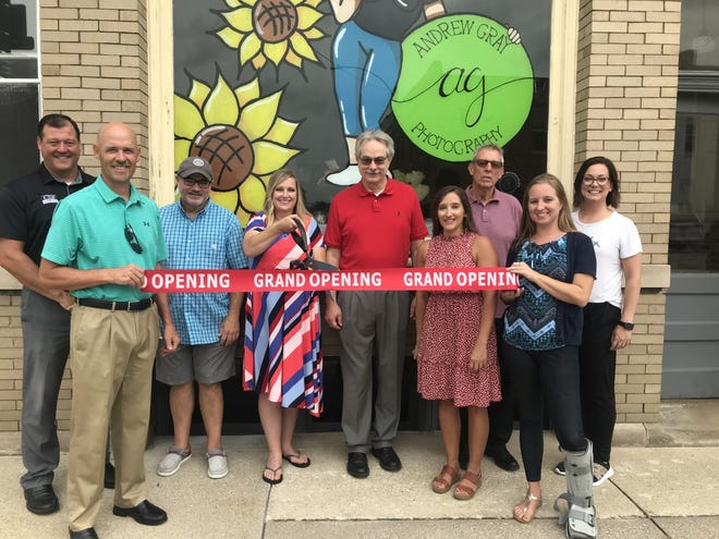 The ribbon cutting for Andrew Gray Photography at 312 Main Street in Galva was held last Thursday by the Galva Chamber of Commerce. Pictured from left, Ben Nelson, Galva Chamber of Commerce (CSB), Mike Yepson, Galva Chamber of Commerce (CSB Insurance), Barry Millender, Galva Chamber of Commerce, Lori Moore Vancil, owner of Andrew Gray Photography, David Dyer, Galva City Administrator, Jessica Nevarez, Galva Chamber of Commerce, (CSB) Mayor Rich Volkert, Stacy Hanks, President Galva Chamber of Commerce, (CSB) amd Torri Price, friend of Vancil. The new business is open and you may contact Lori at 309 525 2846 for your photo needs.  Vancil plans a grand opening of her downstairs photo shop and the remodeled apartments upstairs in November.