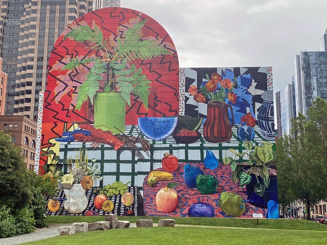 This art by Daniel Gordon showing lobsters and ferns can be seen on the Rose Kennedy Greenway at Dewey Square on Atlantic Avenue across from South Station. This large piece of art will be on display until May 2022.