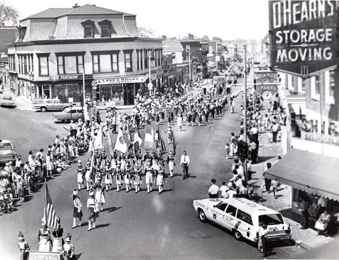 This is the Dorchester Day Parade in June 1967. According to the Dorchester Historical Society, St. Ann's of Neponset led the parade through Fields Corner. The parade celebrated the anniversary of the settlement of Dorchester. Learn more at Learn more at www.dorchesterhistoricalsociety.org.