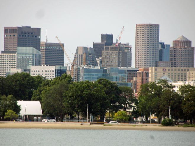 This is a look at the Financial District as seen from Castle Island.