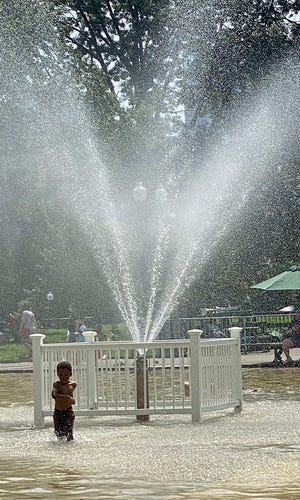 Even on a hot day, the spray at the Frog Pond might feel a bit too cold.