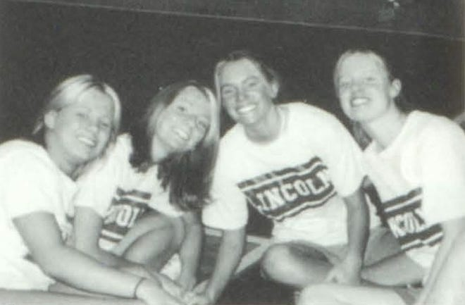 Pictures of the Past is from the 2003 Lincoln Community High School yearbook. The photo shows Shanna Goodman, Jenna Dumser, Melanie Boyer and Brittany Ingram chilling out at line up.