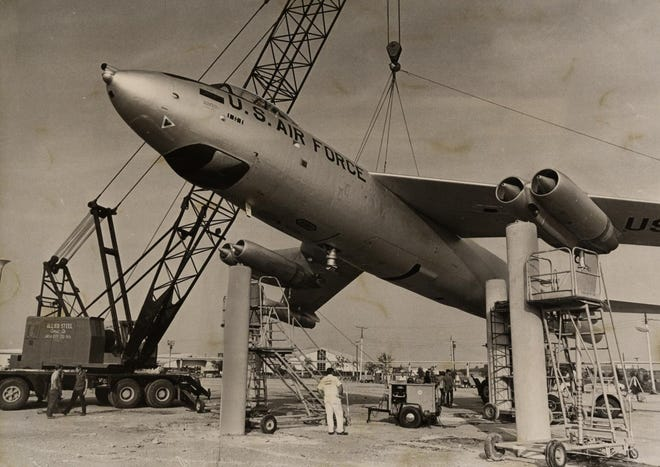 Crane operators attempt to set a B-47 onto posts at the Oklahoma State Fair on Aug. 21, 1971. The landing didn't go as planned when a smaller crane holding the tail section malfunctioned, sending the back of the plane plummeting 20 feet to the ground. No one was injured and the bomber was only slightly damaged, according to reports. The plane eventually was successfully maneuvered onto concrete pillars. After being on display for 35 years, it was removed in 2006 during renovations and given by the military to the city of Palmdale, California. This photo was published 50 years ago in the Oklahoma City Times.