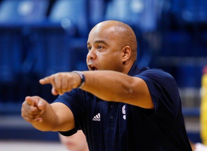 Ron Arthur coaches the Shawnee boys basketball team during a 2015 tournament in Shawnee.
