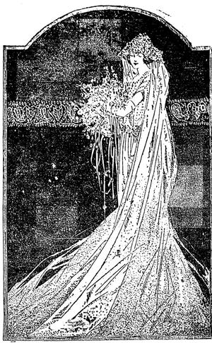 The Daily Oklahoman explored the fees paid to those officiating weddings in 1923. This wedding gown graphic accompanied a story on wedding trends and was published in 1922.