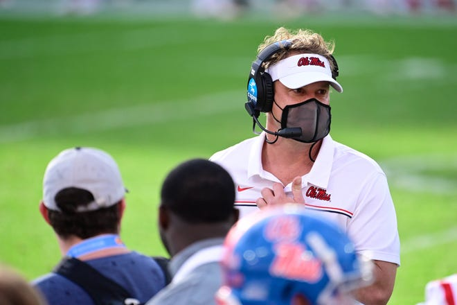 Mississippi achieved 100 percent vaccination rate within the program as coach Lane Kiffin says it's the responsible thing to do for all players. Douglas DeFelice-USA TODAY Sports