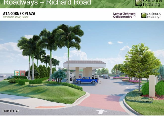 The site plan for a 7-Eleven gas station and convenience store at the intersection of Alternate A1A and Richard Road in North Palm Beach. The Village Council denied the plans on Aug. 12.