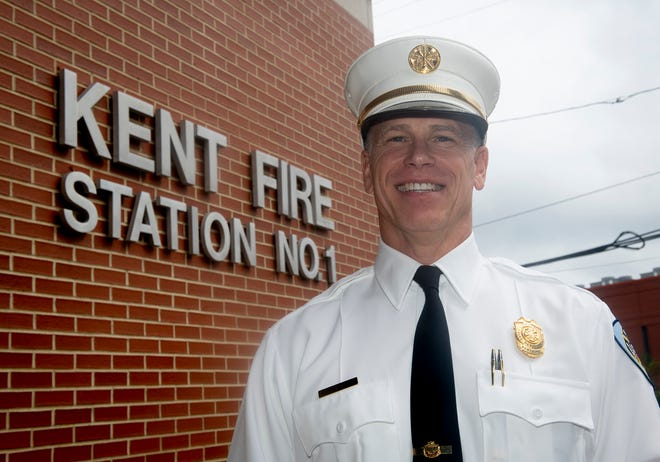New Kent Fire Department Chief Bill Myers at Kent Fire Station 1 on South Depeyster Street. Myers took over from retired Fire Chief John Tosko at the beginning of August.