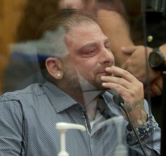 Mario Lerario breaks down while speaking at his sentencing hearing Tuesday in Stark County Common Pleas Court for a 2020 hit-skip crash that killed Abigail Vanest.
