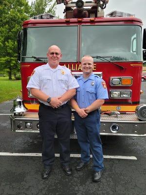 Alliance Fire Lt. Ted Johnson and firefighter Dane Johnson.