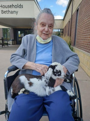 Evonne English poses with the baby goat at The Households of Bethany in Story City, where they were celebrating Iowa State Fair Week. Residents enjoyed a petting zoo, a dunk tank, a variety of fair foods and many other activities.