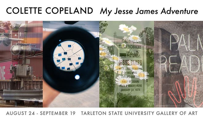 """The Tarleton State University Department of Fine Arts will present the inventive multimedia installation """"My Jesse James Adventure"""" by Colette Copeland in the Clyde H. Wells Gallery of Art in Stephenville, Aug. 24-Sept. 19."""