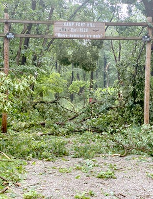 The road to Camp Fort Hill was impassable following severe weather.
