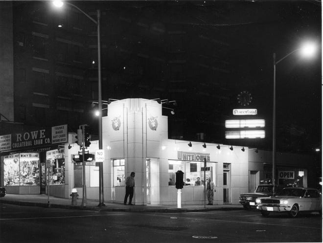 This photo, taken in September 1967, recognized White Tower as the last of the all-night restaurants on Main Street. The Mustang at the light had yet to earn the classic label.