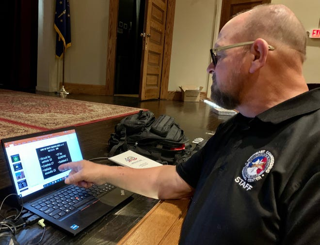 Bruce Parent, instructor with American Public Safety Training Services, LLC, said keeping officers safe is his passion after losing his training partner in a fatal shooting in 1999. He was helping conduct free, high-quality training to approximately 65 law enforcement officers Monday morning at the Mitchell Opera House.