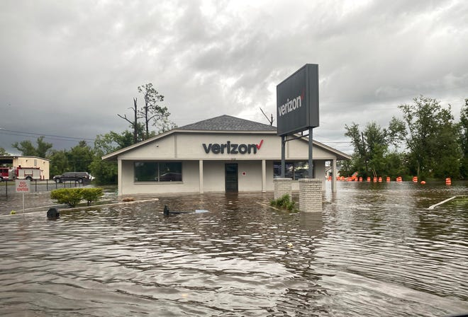 Tropical Storm Fred turned this business in Lynn Haven, Florida, into a waterfront property on Monday. Fred continues to move north, bringing rain with it.