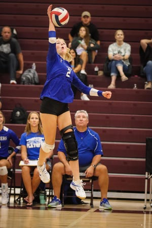 Macy Densmore and the Lady Panthers celebrate a block.