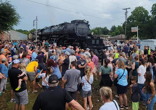 Hundreds came out on Sunday morning to see Union Pacific Railroad's historic Big Boy No. 4014 locomotive in Waxahachie as it made three whistle stops in Ellis County, including at the Ferris Street crossing. The locomotive served Union Pacific from 1941 to 1961, then was reacquired by Union Pacific in 2013 and restored to service in 2019.