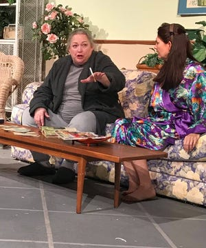 """Lisa Rosewell (left) and Debra Hinson play sisters in the world premiere of """"Big Boy, Miss Alice and the Colonial Encyclopedia Salesman"""" at Theatre Rocks!"""