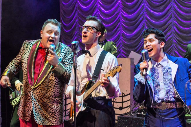 """The Big Bopper (James Fairchild), Buddy Holly (Michael Perrie Jr.) and Ritchie Valens (Matthew Cardenas) will rock Abilene when """"The Buddy Holly Show"""" opens the 2021-22 Broadway series Sept. 21."""