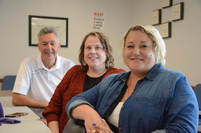 Mike Grider, from left, Dawn Smith and Ashley Gibson are organizing a Saturday Celebrate Recovery Walk in Battle Creek.