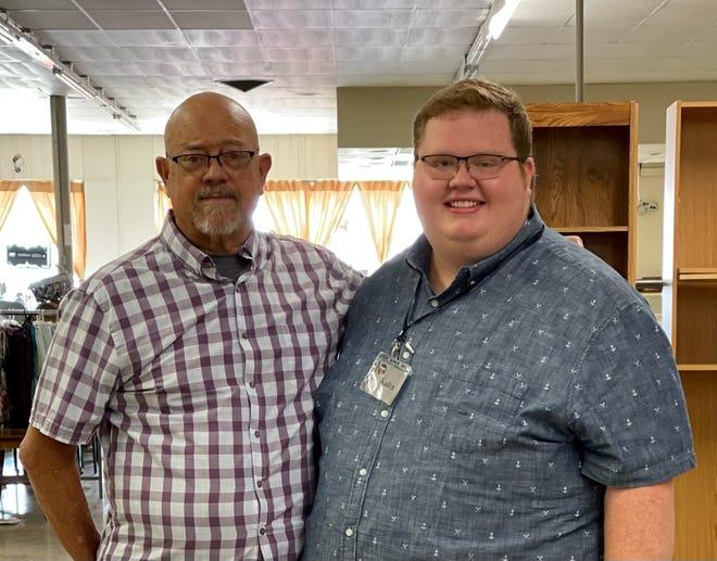 Bishop Ted Thomas (L) and grandson Kaden Blankenship.