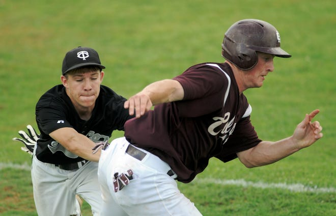 Henderson County's Kyle Gibson gets tagged out by Trigg County's Shane Banks, left, during a run down between third and home during the 2009 Second Regoin Tournament in Madisonville.