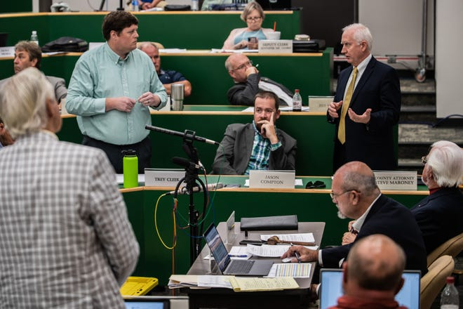 Madison County Attorney Steve Maroney, right, speaks during a Madison County Board of Commissioners meeting on Monday, Aug 16, 2021 in Jackson, Tenn.