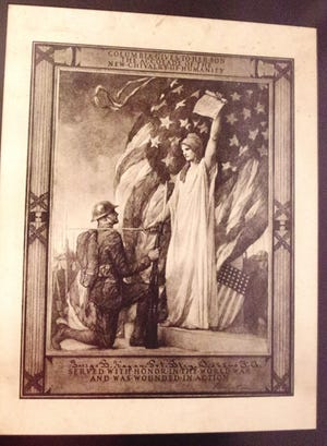 This lithograph was given to Fred Hagan's grandfather, George Hagan, for his service during World War I. This document was given to every soldier, sailor and marine who was wounded or killed in World War I. Hagan is attempting to reunite a copy that belong to a marine named William Bryan Hawkins with its family.