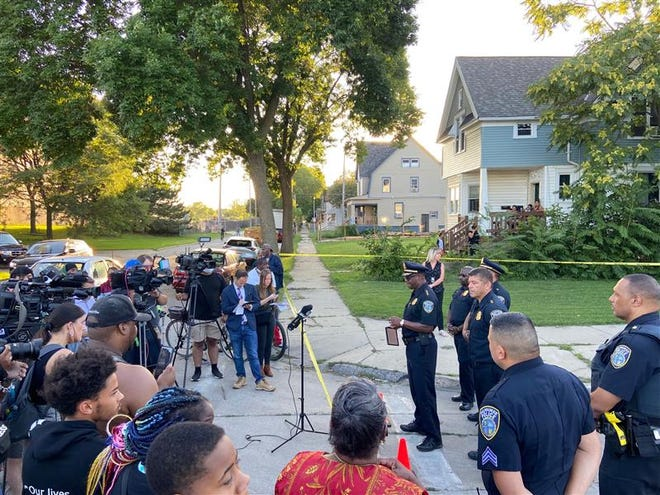 Acting Police Chief Jeffrey Norman briefs the media after officers shoot and kill and man who Norman said fired on them first.