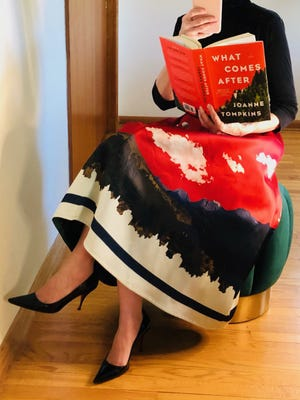 """Debora O'Donnell of Fox Point styles ensembles that match the covers of books, then posts them on her Instagram account, oh_apostrophe. This is what she wore to match """"What Comes After"""" by Joanne Tompkins."""