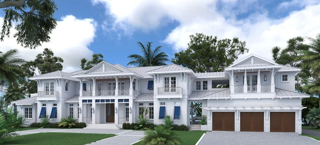 Rendering of a new custom estate home to be built by Waterside Builders in the Aqualane Shores neighborhood in Naples, Florida.