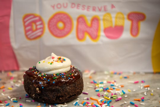 A chocolate donut with rainbow sprinkles at D'Ercole Donuts in Northvale on Tuesday August 17, 2021.