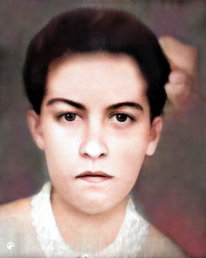 Juanita Martinez Garrett, the first wife of Sheriff Pat Garrett, is pictured in this colorized photo. Juanita died at the age of 19, just two weeks after the couple married.