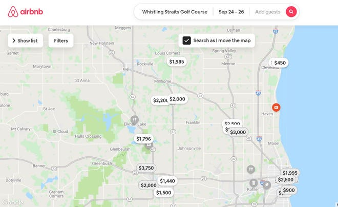 A map of available Airbnb rentals and their prices over the weekend of the Ryder Cup event.