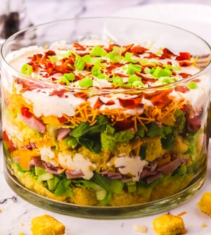 Cornbread salad can also be served layered, tossed, as a main dish salad, a side salad, or even in individual mason jars for a day at the beach or a picnic.
