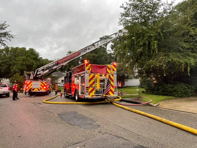 Tallahassee Fire Department responding to a house fire that displaced a family Monday evening. None of the occupants were hurt, said TFD spokesperson Sarah Cooksey.