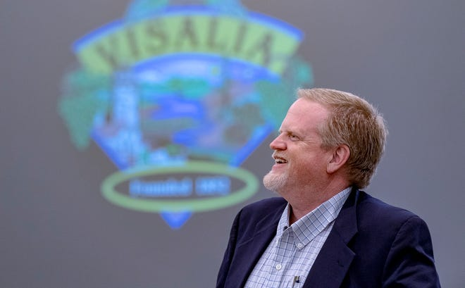 Visalia City Manager Randy Groom speaks after his last Council meeting before retirement. Leslie Caviglia was appointed as the new City Manager and will be sworn in Sept. 7.