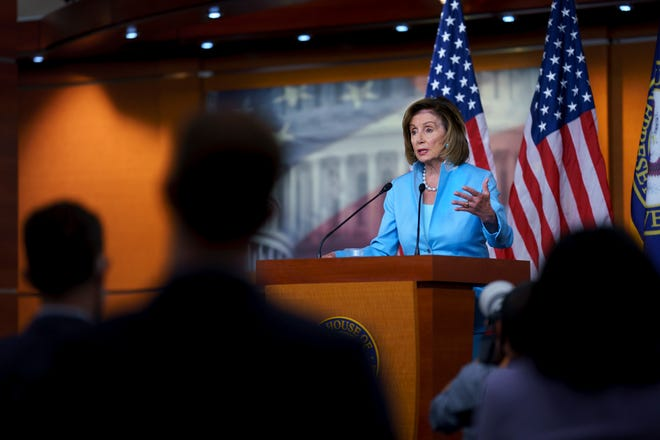 House Speaker Nancy Pelosi, D-California, meets with reporters at the Capitol in Washington, Friday, Aug. 6, 2021.  (AP Photo/J. Scott Applewhite) org XMIT: DCSA112
