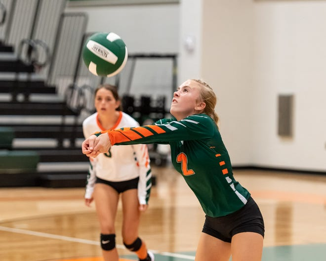 Gateway libero Brylee Mathis, returning a serve against Wimberley last season, said her favorite volleyball memories are the bus rides with teammates after games. She spent most of the summer training for her senior year.