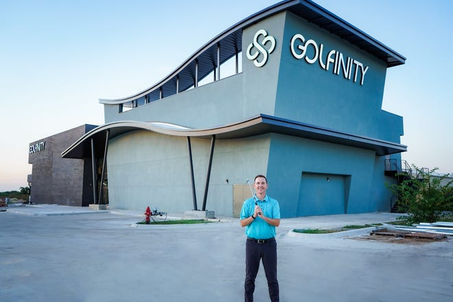 Aaron Bergman, a teaching pro based in Austin, in front of the new Golfinity facility set to open on RM 620 near Lakeline Mall. With the backing of Troon, Golfinity could potentially become a national brand.
