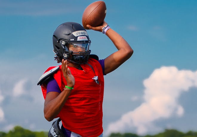 LBJ quarterback Oscar Gordon III throws passes during practice Monday. Gordon accounted for 22 touchdowns, threw for 1,586 yards and ran for 361 yards in his first season as a starter a year ago.