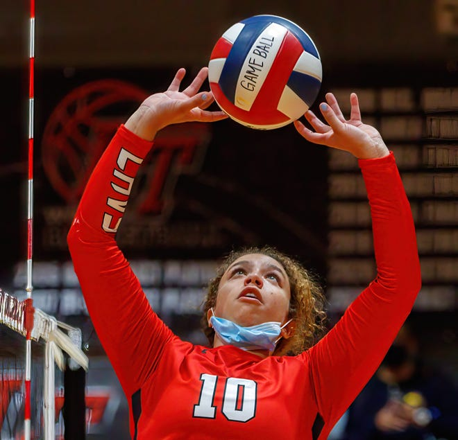 Lake Travis Cavaliers setter Kiana Reed, playing here against Dripping Springs, plans to study and play volleyball at Texas Women's University.