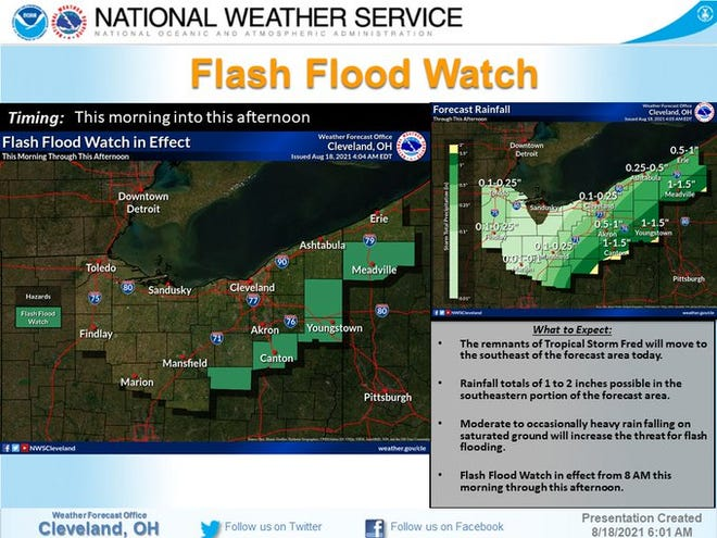 The remnants of Tropical Storm Fred will dump rain on many parts of northeast Ohio today.