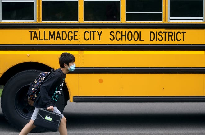 Tallmadge City Schools started the school year with an opt-out mask policy for K-8 students and a mask-optional policy for high schoolers. Due to increased cases and quarantines, the entire district is now under a mask mandate, which is continuing another four weeks.